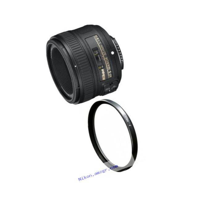 Nikon 50mm f/1.8G AF-S NIKKOR FX Lens with B+W 58mm Clear UV Haze