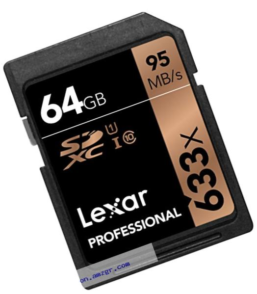 Lexar Professional 633x 64GB SDXC UHS-I/U1 Card with Image Rescue 5 Software - LSD64GCB1NL633